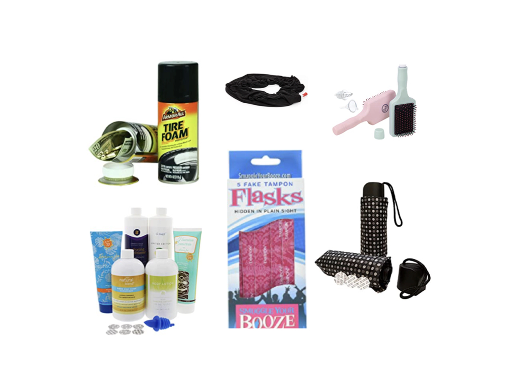 flask disguised as hair brushes, tampons, etc