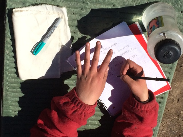 Pair of Hands Writing in Notebook