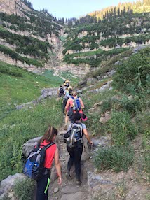 Group hiking through the wilderness