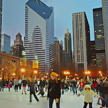People ice skating in the city