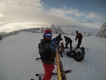 Group of teens skiing
