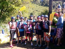 Group of students on a rafting trip