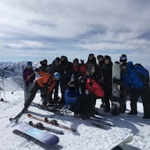 Group skiing and snowboarding