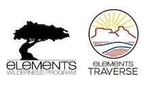 logos for wilderness therapy programs Elements Wilderness program and Elements Traverse