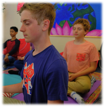 students practice mindfulness