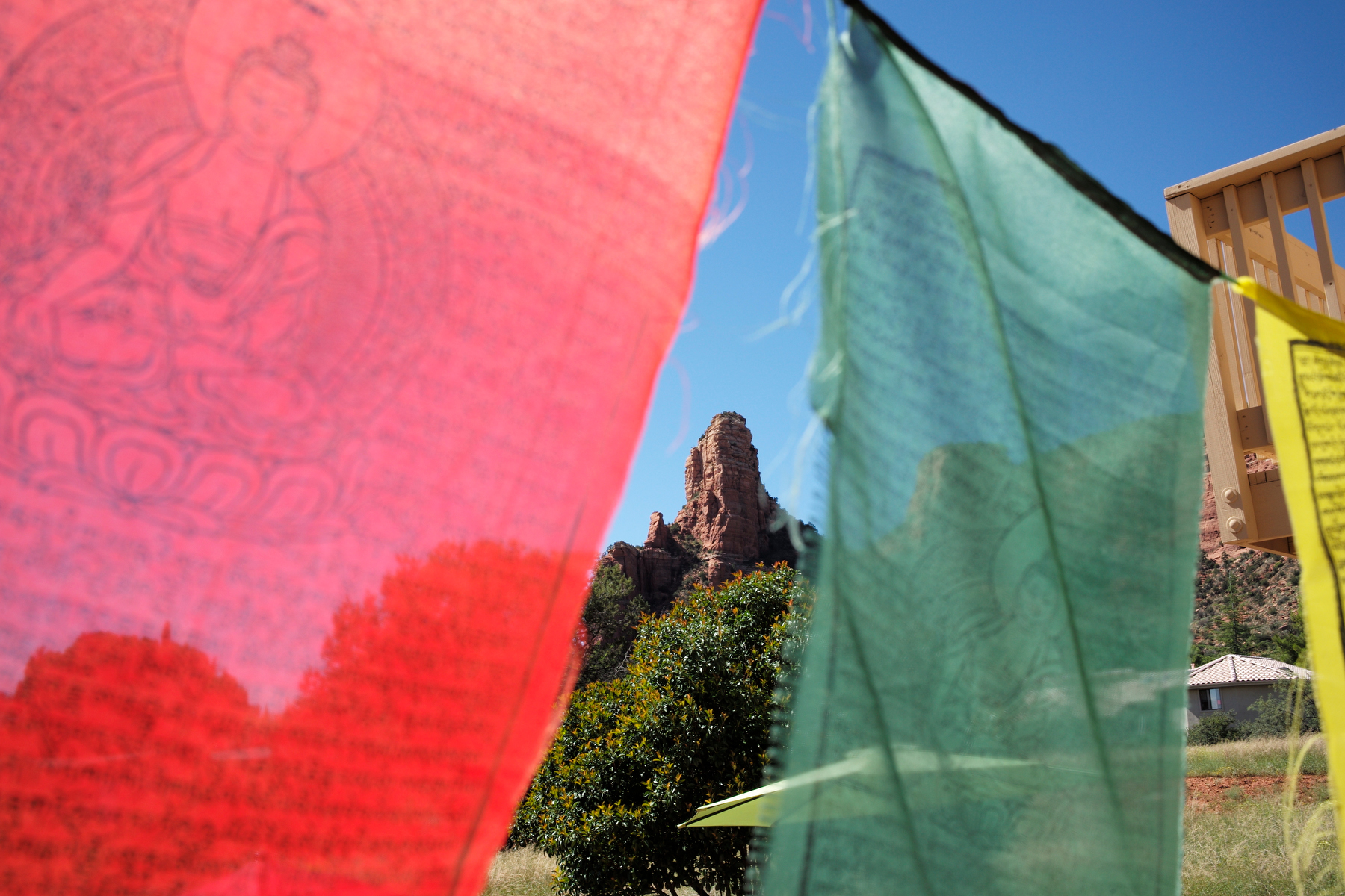 Red and green fablric flags flowing in the wind