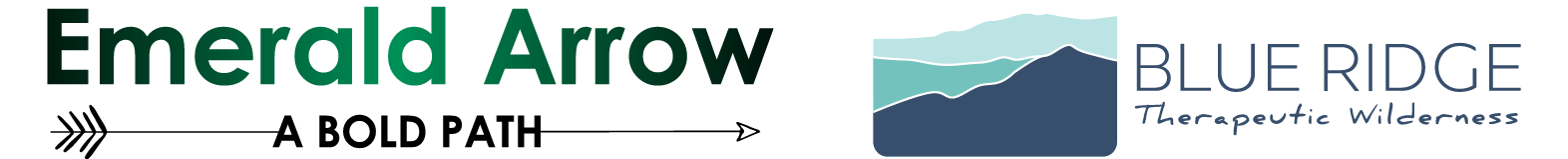 Emerald Arrow logo and Blue Ridge therapeutic Wilderness logo