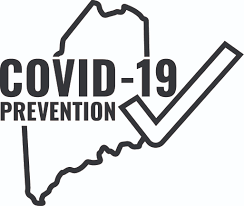 State of Maine outline with Covid-19 prevention.