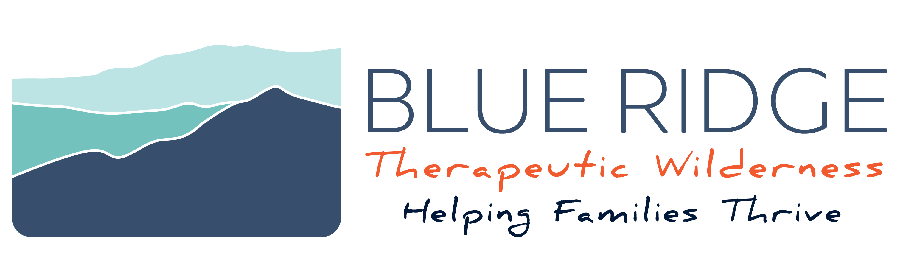 Blue Ridge Therapeutic Wilderness logo with the line helping families thrive.