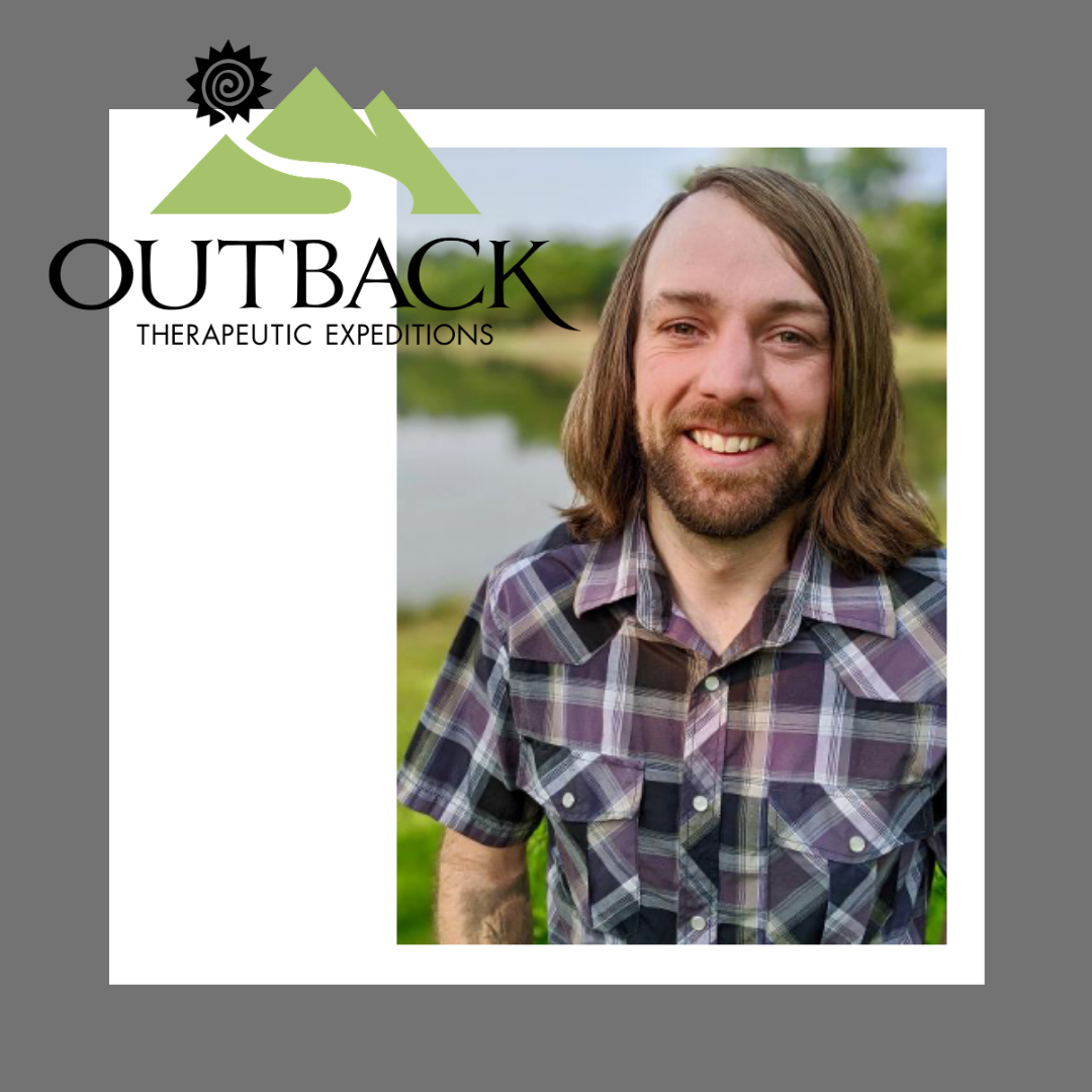Photo of Derek Cragun, LCSW to the Clinical Team with the outBACK logo in the left side
