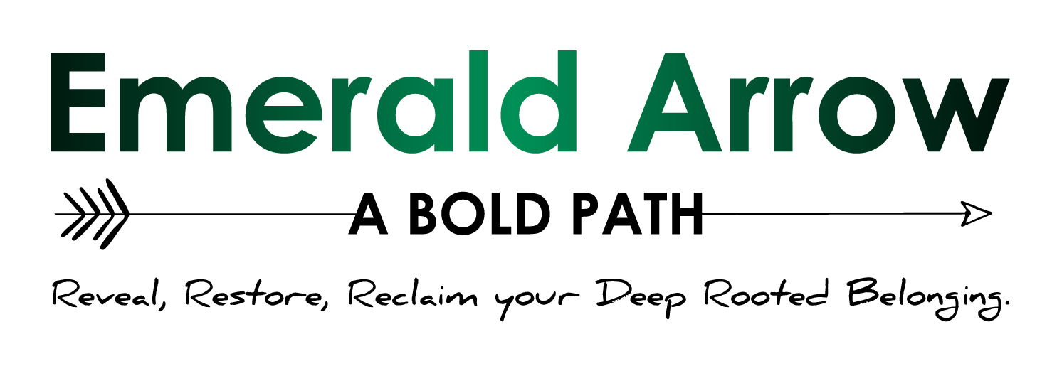 Emerald Arrow, a bold path logo, with reveal, restore, reclaim your deep rooted belonging is written as the tagline.