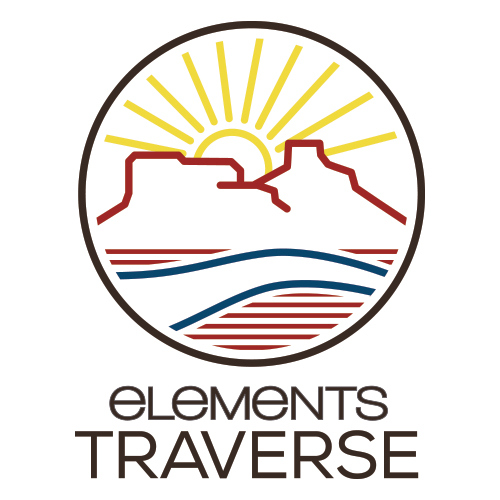 Elements Traverse logo that has a sun and Utah mountains with a river running through it.
