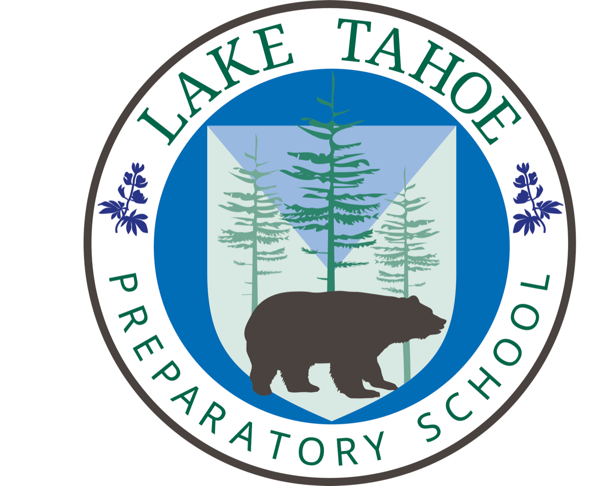 Lake Tahoe Preparatory School Logo, with a bear and trees in it.