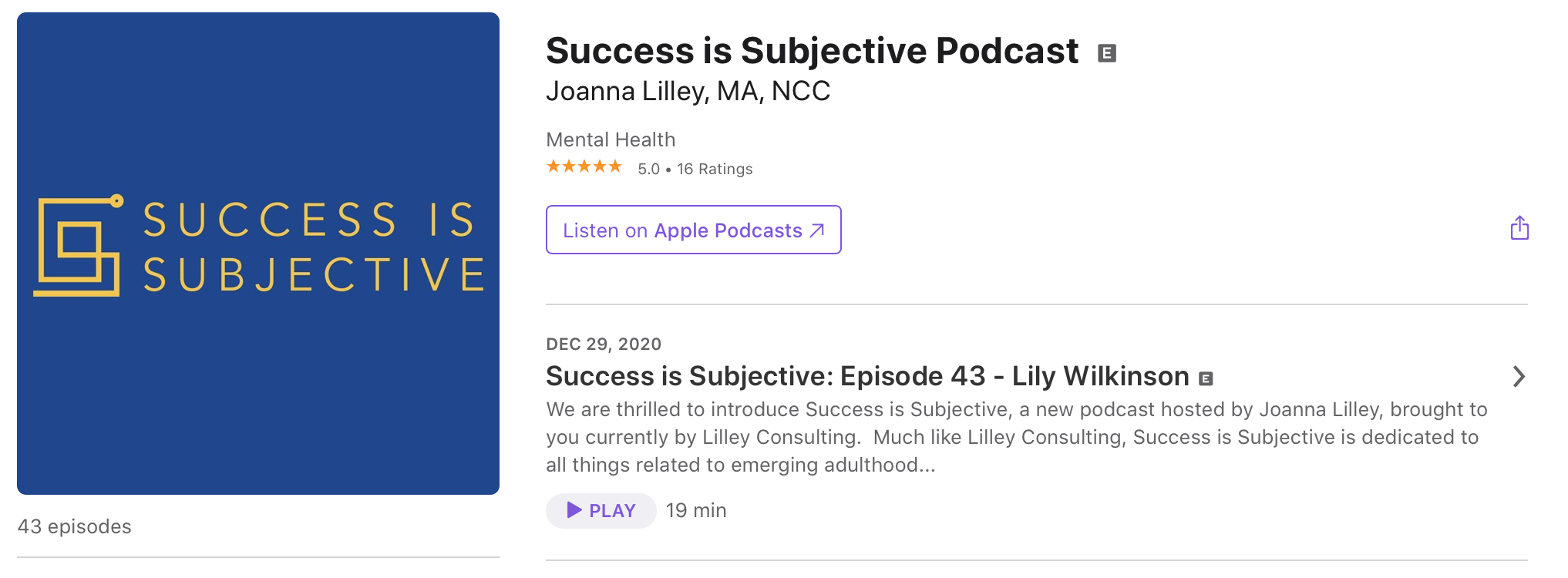 screenshot of Success Is Subjective Podcast episode