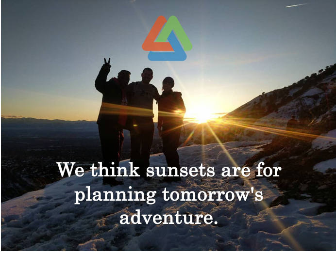 """photo of sun setting with legacy logo & the words """"We think sunsets are for planning tomorrow's adventure."""""""