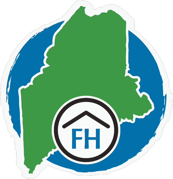 logo, Foundation House with FH & the state of Maine in green with blue around it.