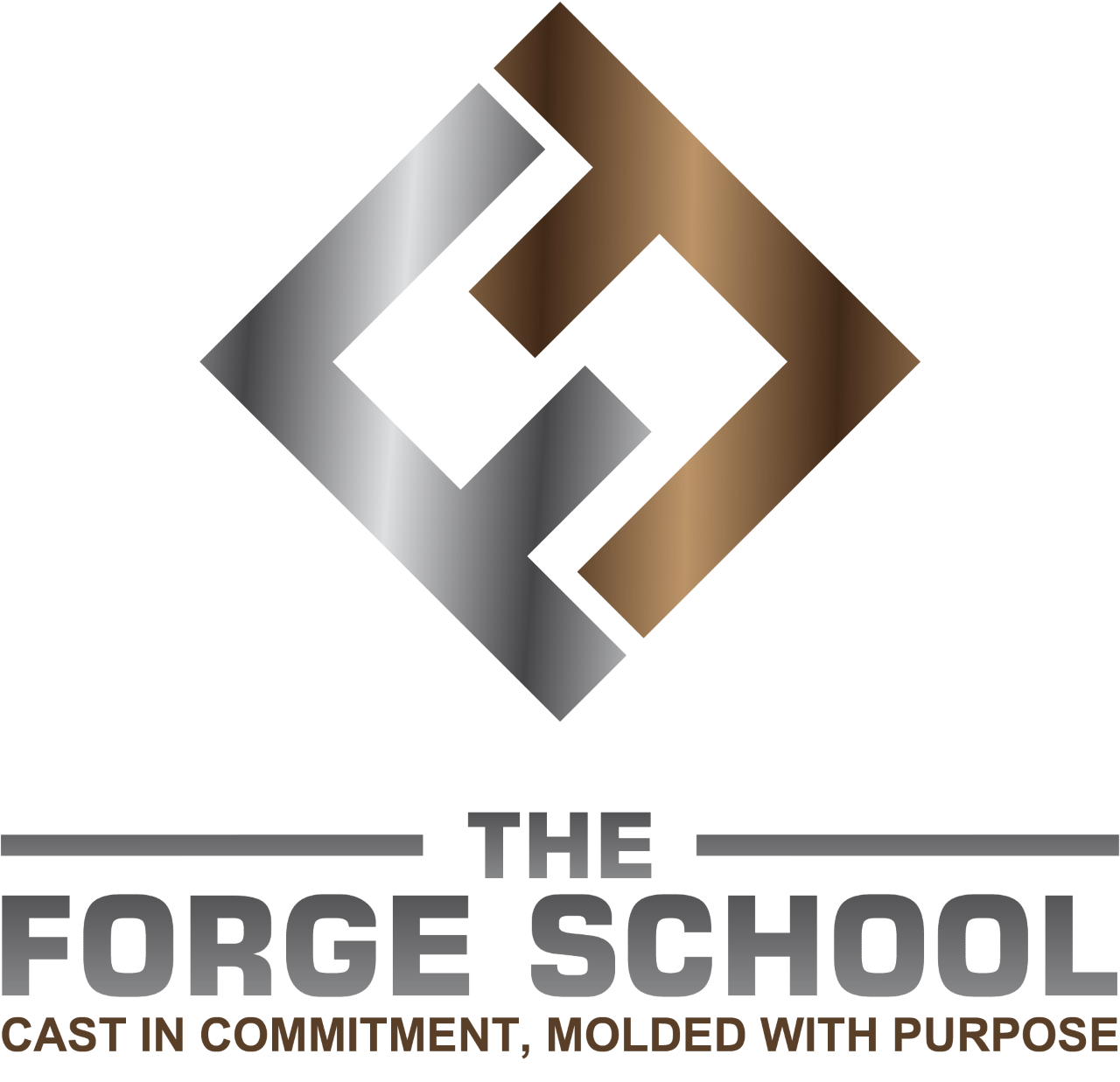 logo for the Forge School with their tagline cast in commitment, molded with purpose