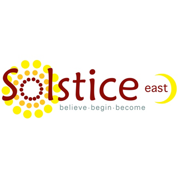logo for Solstice East with tag line believe, begin, become